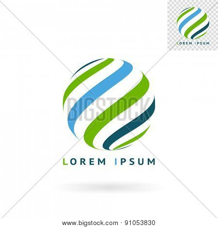 Modern abstract green blue round sign for logos, banners, layouts, corporate  brochures, templates and internet web sites. Vector eps10 illustration