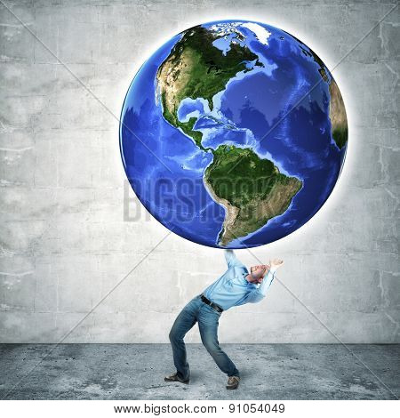 floating world globe and businessman