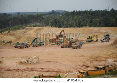 Group of construction lorry used to transport excavated soil