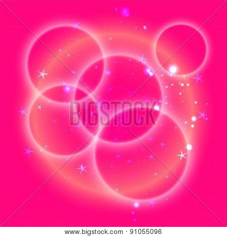 Pink circle background with star