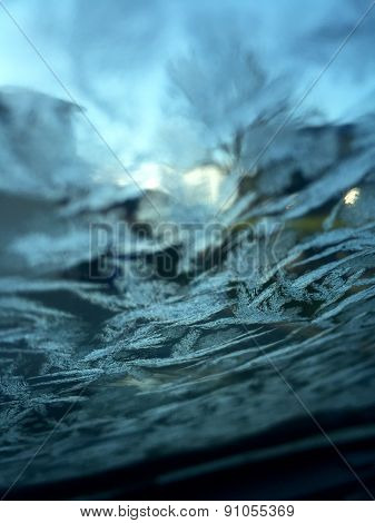 Frost on Windshield in Early Morning Winter