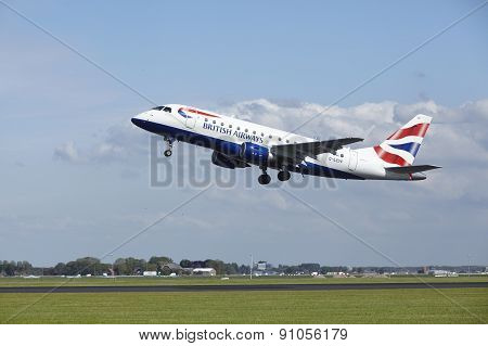 Amsterdam Airport Schiphol - Embraer Erj-170 Of British Airways Takes Off
