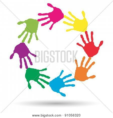 Vector concept or conceptual circle or spiral set made of colorful hand prints
