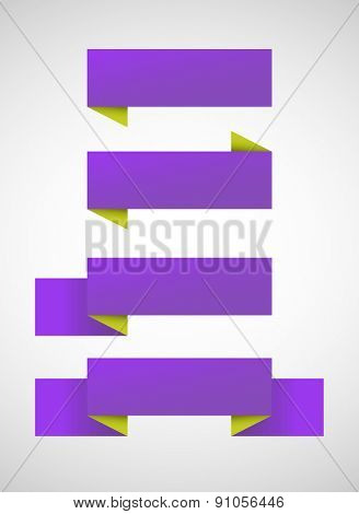 Vector set of bright purple banners over gray background