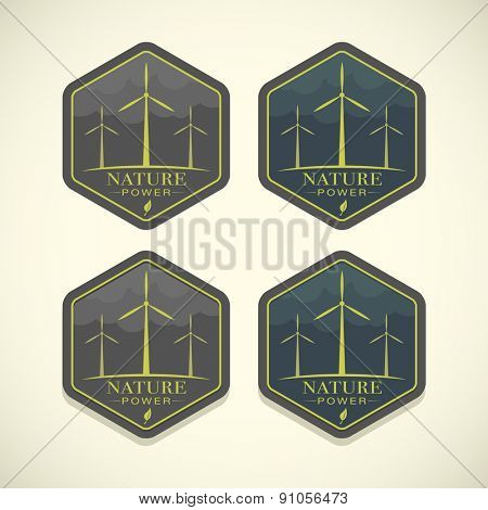 Vector eco icons of wind turbines, nature power concept