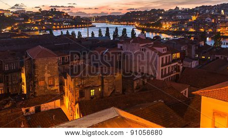 PORTO, PORTUGAL - MAY 15, 2015: Panoramic view of Porto at night time. Porto is called Northern capital of Portugal. Municipality was founded in 1123. UNESCO World Heritage.