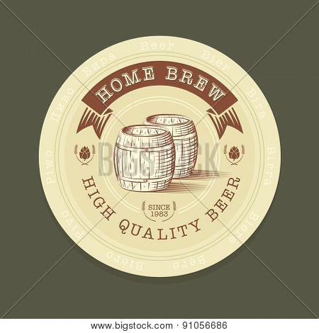 Vector illustration of beer tag in engraved style for advertisement