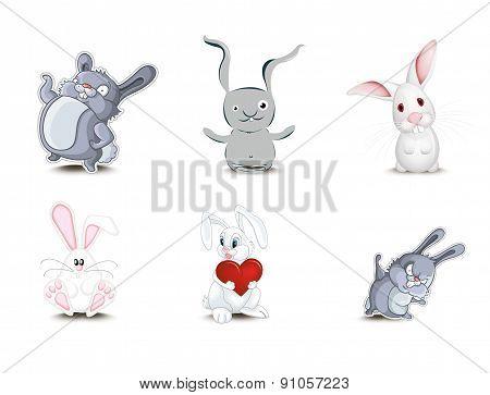 Set of cute rabbits vector