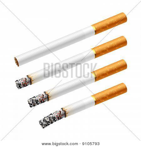 verschiedenen Phasen der Rauchen einer Zigarette