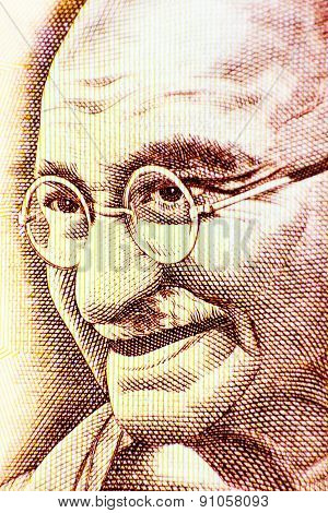 Macro closeup of Mahatma Gandhi on a 500 rupee note