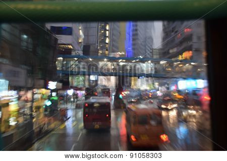 rainy day rush hour traffic