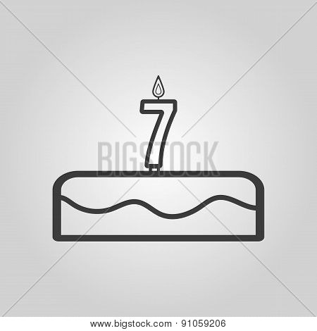 Cake With Candles In The Form Of Number 7 Icon