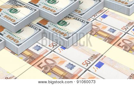 European currency bills stacks with american dollars background.