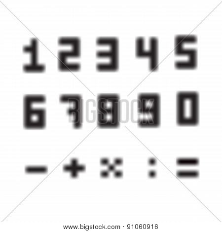 A set of amazing fuzzy numbers. Blurred numbers from 0 to 9. The plus sign, minus, divide, multiply,