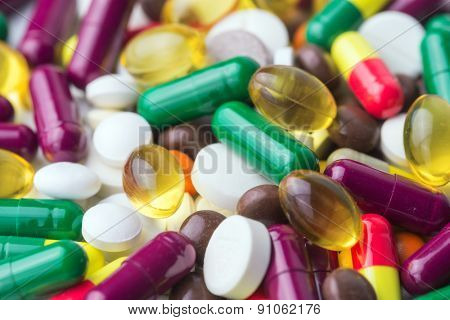 many color pills close up
