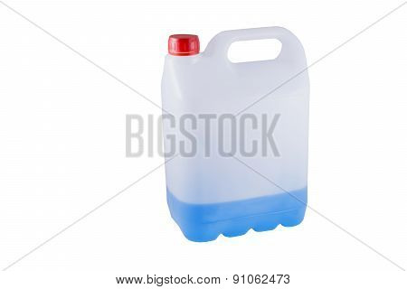 White Plastic Canister With Blue Liquid