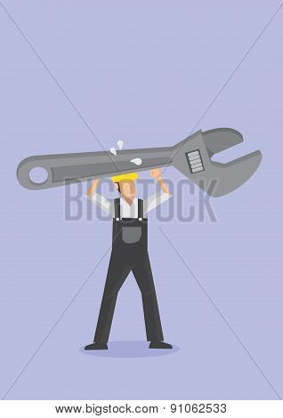 Worker Carrying Huge Adjustable Wrench Spanner