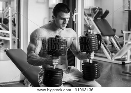 Strength training with dumbbells.
