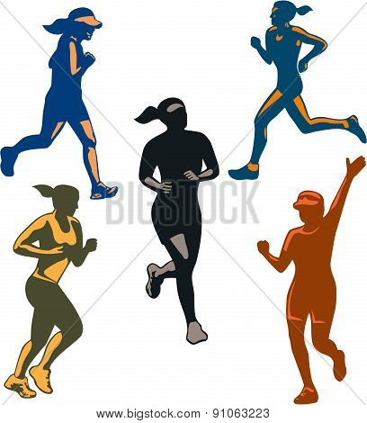 Female Marathon Runners Retro Set