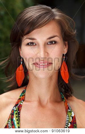 Summer Woman Portrait With Feather Earrings
