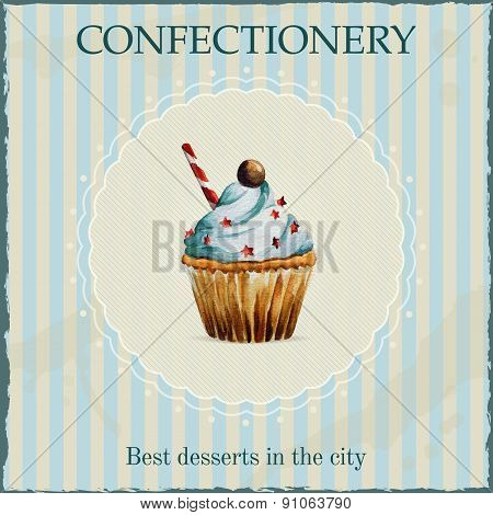 Watercolor confectionery advertisement with cupcake illustration