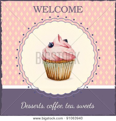 Confectionery advertisement with watercolor cupcake illustration