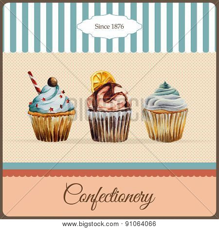 Confectionery advertisement with watercolor cupcakes illustration