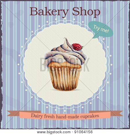 Watercolor bakery shop advertisement with cupcake illustration