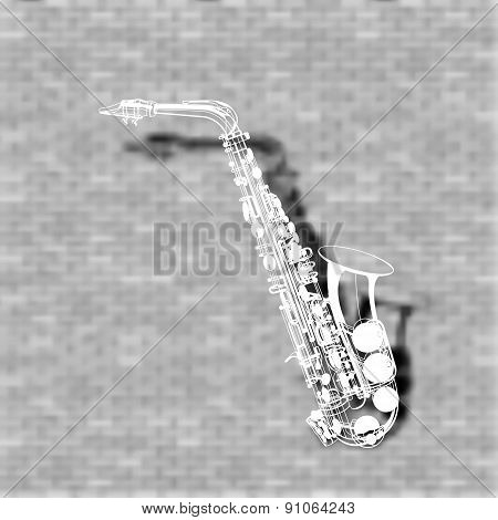 Saxophone On A Brick Wall Background