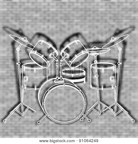 Drum Set Against The Backdrop Of A Brick Wall
