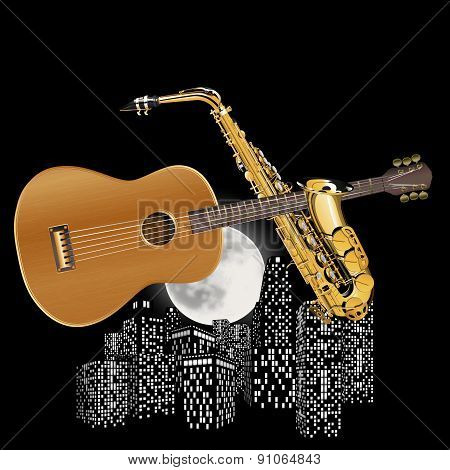 Guitar And Saxophone On The Background Of City Lights