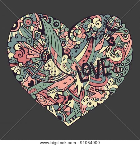 Doodle colorful heart with ornate otnament