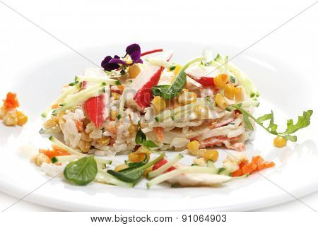 Gastronomy. Delicious food on a dish