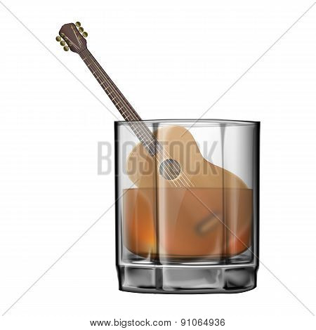 Guitar In A Wineglass Of Whiskey