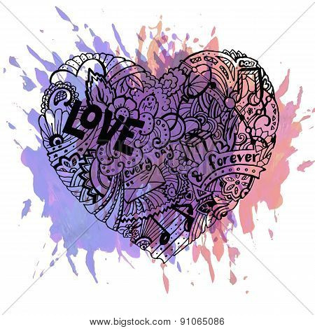 Dodle colorful heart with paint splashes