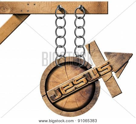 Jesus - Wooden Symbol With Cross