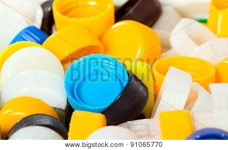 Background made from colorful plastic lids texture
