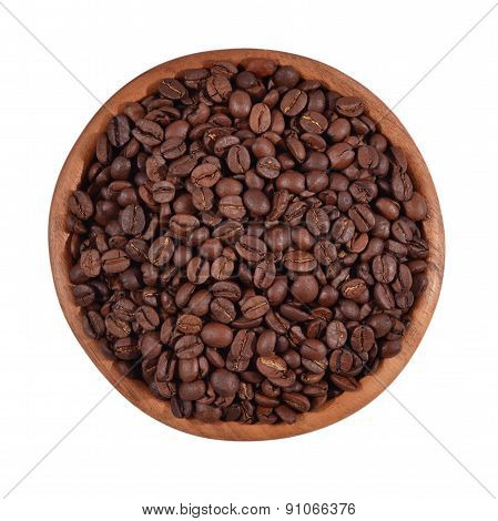 Coffee Beans In A Wooden Bowl  On A White Background