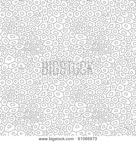 Black and white abstract uneven hexagon mosaic simple seamless pattern, vector