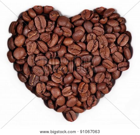 Coffee Beans In The Form Of Heart On A White