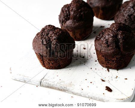 Delicious muffin on a white background