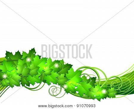 Nature background with green fresh leaves .