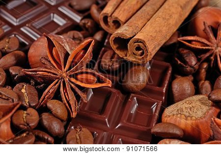 Coffee, Chocolate, Star Anise, Cinnamon Sticks And Hazelnuts