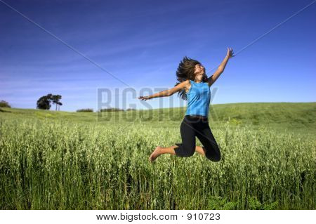 Jumping On A Green Field
