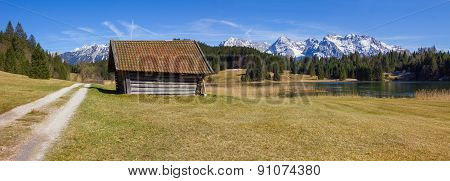 Hiking Trail Around Lake Geroldsee, With Hut And Karwendel View