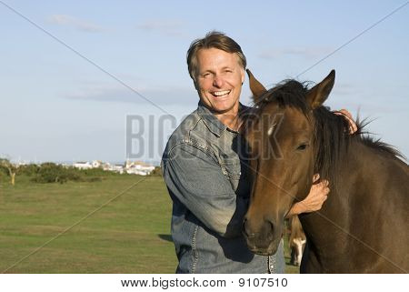 happy man with horse
