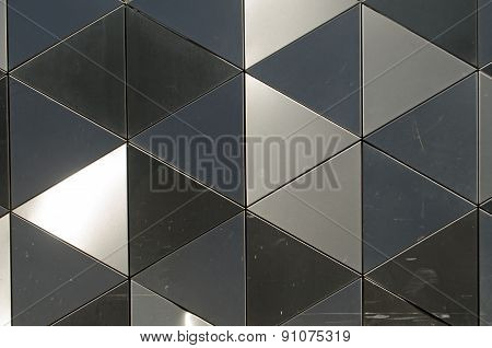 Shiny metal triangles background