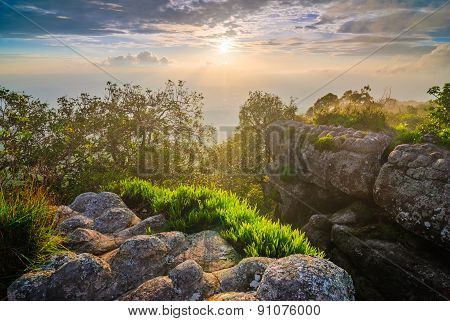 Sunset At Mountain Peak, Phu Hin Rong Kla National Park, Thailand