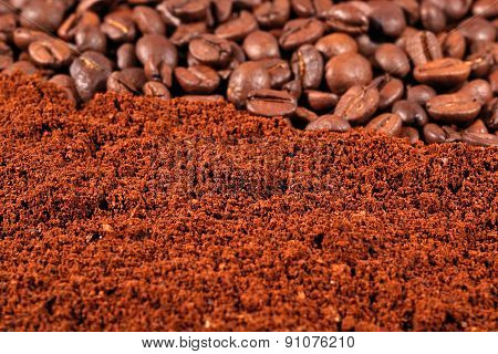 Heap Of Ground Coffee And Beans