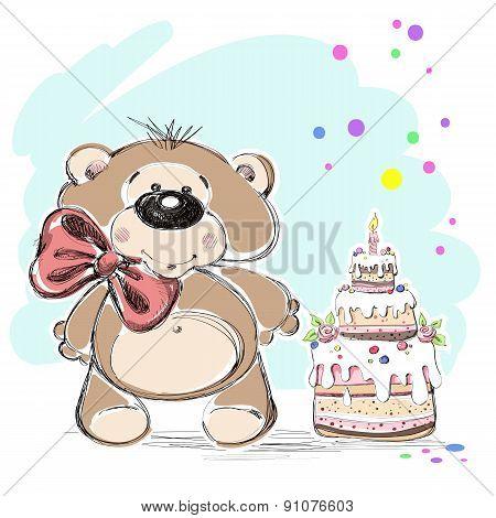 Nice little bear and cake. Vector illustration.